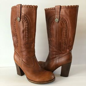 ASH Brown Leather Riding Tooled Boots 11 US 41 EUR
